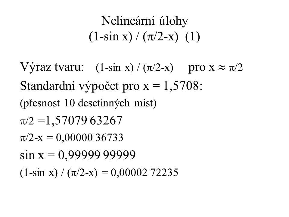 Iterační metody Praktický příklad 3: sin x = x - h(1) Prostá iterace: Pro h = 0,234567 Nalezení rekurzivní rovnice: a)x = sin x + hkonverguje (x* = 1,145472; 20 iter.) b)x = asin (x – h)nekonverguje Pro h = 0,000123456 Nalezení rekurzivní rovnice: a)x = sin x + hnekonverguje b)x = asin (x – h)nekonverguje