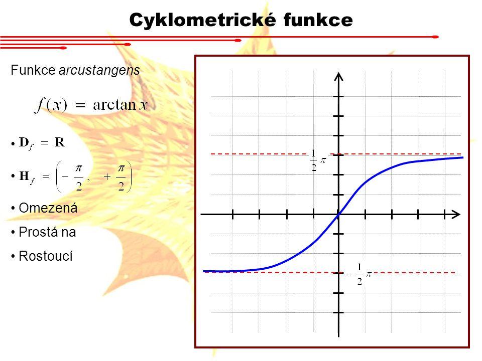 Cyklometrické funkce Funkce arcustangens Omezená Prostá na Rostoucí