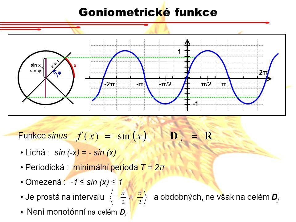 Goniometrické funkce Funkce sinus Lichá : sin (-x) = - sin (x) Periodická : minimální perioda T = 2π Omezená : -1 ≤ sin (x) ≤ 1 Je prostá na intervalu a obdobných, ne však na celém D f Není monotónní na celém D f r = 1 x φ sin x sin φ -π-π-2ππ 2π2π 1 π/2-π/2