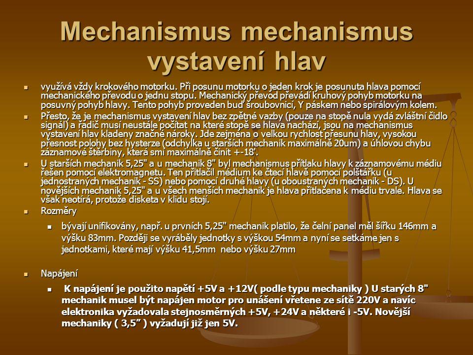 Mechanismus mechanismus vystavení hlav využívá vždy krokového motorku.