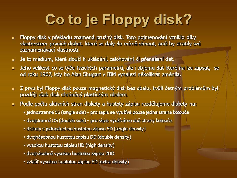 Co to je Floppy disk? Floppy disk v překladu znamená pružný disk. Toto pojmenování vzniklo díky vlastnostem prvních disket, které se daly do mírně ohn
