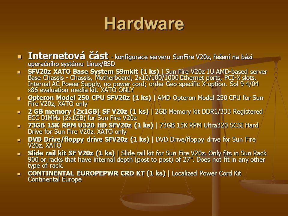 Hardware Internetová část - konfigurace serveru SunFire V20z, řešení na bázi operačního systému Linux/BSD Internetová část - konfigurace serveru SunFire V20z, řešení na bázi operačního systému Linux/BSD SFV20z XATO Base System S9mkit (1 ks) | Sun Fire V20z 1U AMD-based server Base Chassis - Chassis, Motherboard, 2x10/100/1000 Ethernet ports, PCI-X slots, Internal AC Power Supply, no power cord; order Geo-specific X-option.