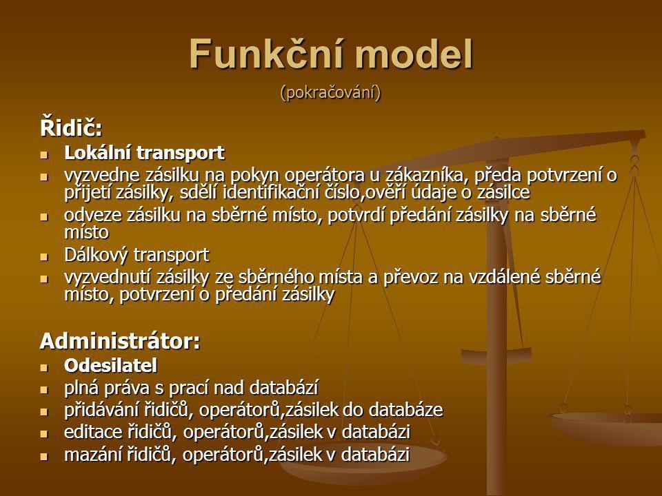 Funkční model Řidič: Lokální transport Lokální transport vyzvedne zásilku na pokyn operátora u zákazníka, předa potvrzení o přijetí zásilky, sdělí ide