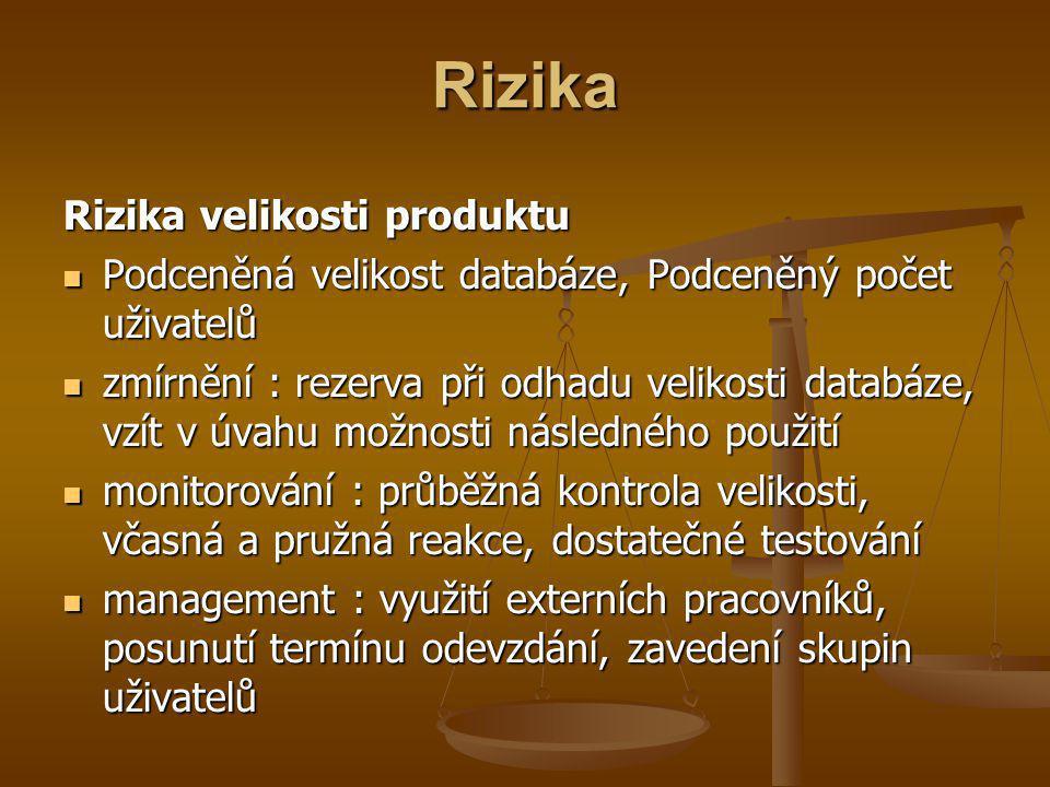 Rizika Rizika velikosti produktu Podceněná velikost databáze, Podceněný počet uživatelů Podceněná velikost databáze, Podceněný počet uživatelů zmírnění : rezerva při odhadu velikosti databáze, vzít v úvahu možnosti následného použití zmírnění : rezerva při odhadu velikosti databáze, vzít v úvahu možnosti následného použití monitorování : průběžná kontrola velikosti, včasná a pružná reakce, dostatečné testování monitorování : průběžná kontrola velikosti, včasná a pružná reakce, dostatečné testování management : využití externích pracovníků, posunutí termínu odevzdání, zavedení skupin uživatelů management : využití externích pracovníků, posunutí termínu odevzdání, zavedení skupin uživatelů