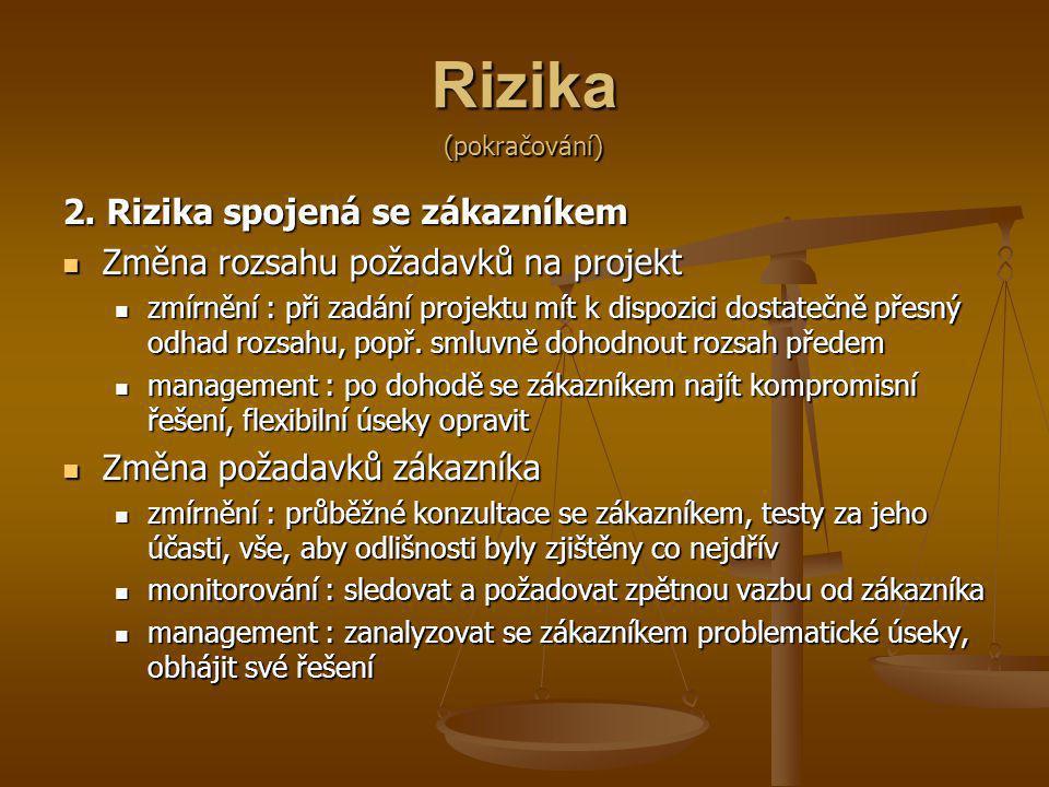 Rizika 2. Rizika spojená se zákazníkem Změna rozsahu požadavků na projekt Změna rozsahu požadavků na projekt zmírnění : při zadání projektu mít k disp