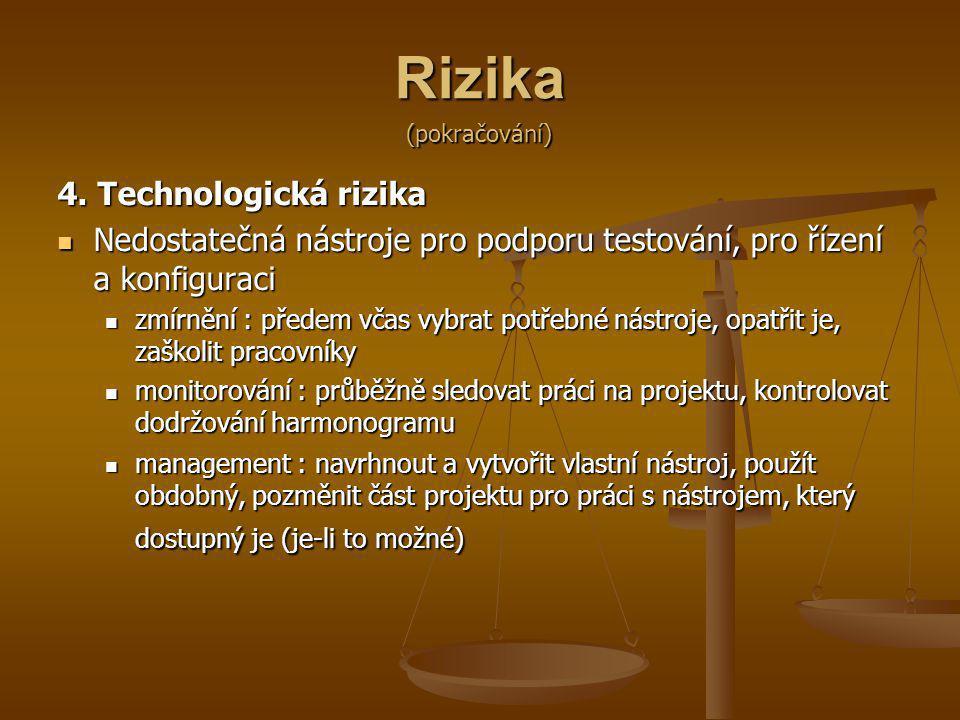 Rizika 4. Technologická rizika Nedostatečná nástroje pro podporu testování, pro řízení a konfiguraci Nedostatečná nástroje pro podporu testování, pro