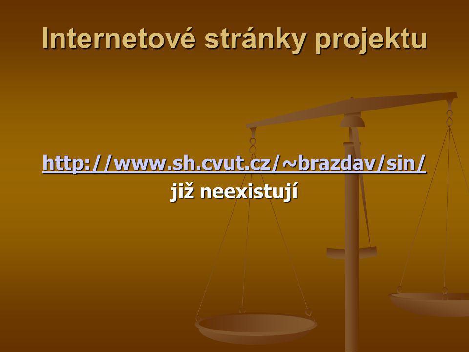 Internetové stránky projektu http://www.sh.cvut.cz/~brazdav/sin/ již neexistují