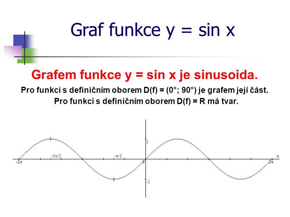 Graf funkce y = sin x Grafem funkce y = sin x je sinusoida. Pro funkci s definičním oborem D(f) = (0°; 90°) je grafem její část. Pro funkci s definičn
