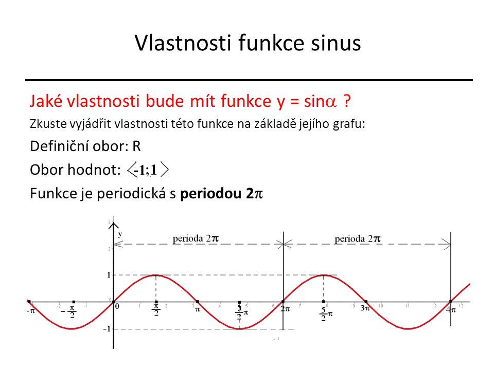 Vlastnosti funkce sinus Jaké vlastnosti bude mít funkce y = sin  ? Zkuste vyjádřit vlastnosti této funkce na základě jejího grafu: Definiční obor: R