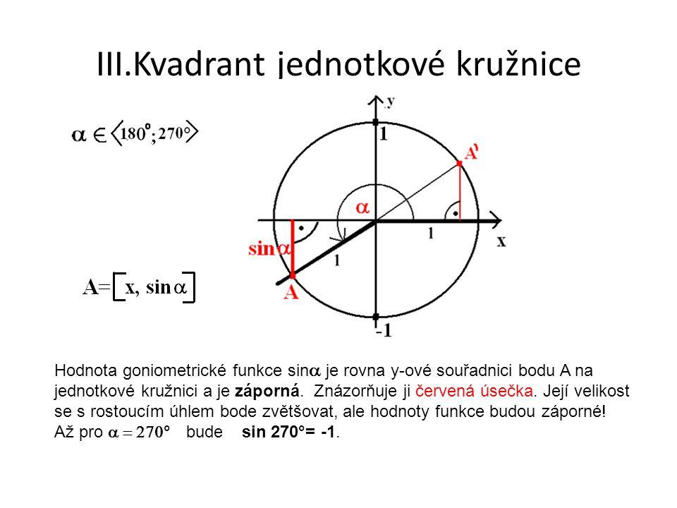 III.Kvadrant jednotkové kružnice Hodnota goniometrické funkce sin  je rovna y-ové souřadnici bodu A na jednotkové kružnici a je záporná. Znázorňuje