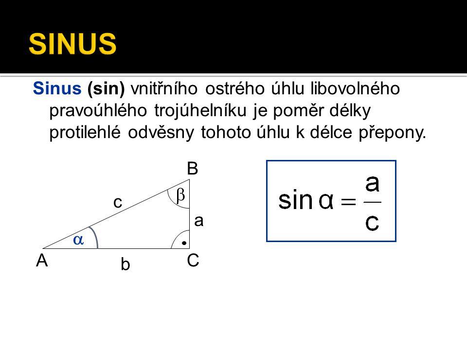 Úkol Zapiš sinus úhlu  A B C   b c a