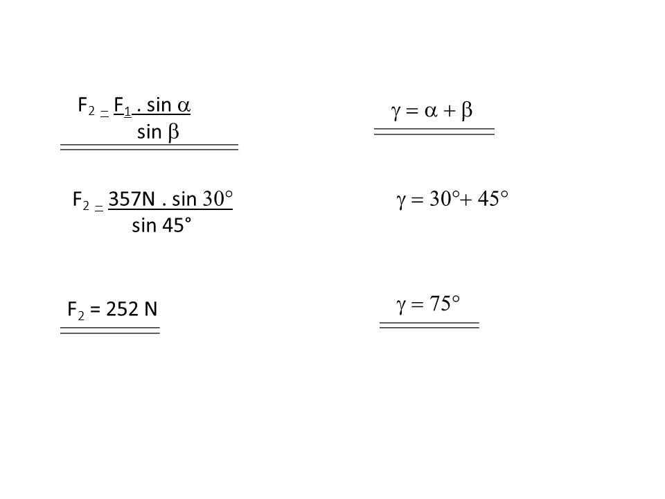 F 2   F 1. sin  sin   F 2   357N. sin  sin 45° F 2 = 252 N  