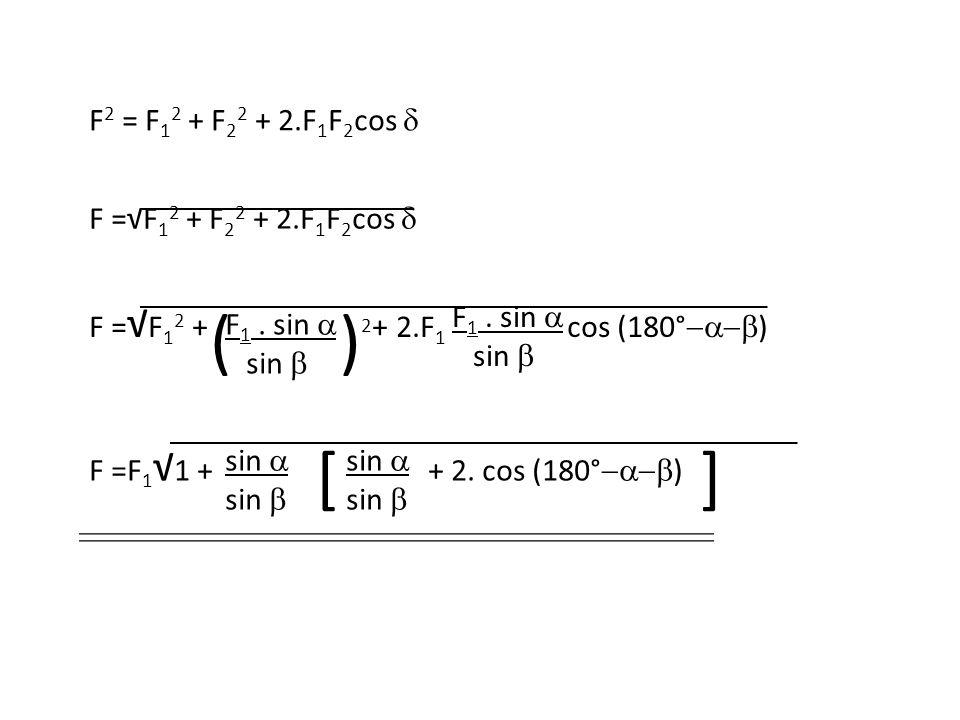 F 2 = F 1 2 + F 2 2 + 2.F 1 F 2 cos  F =√F 1 2 + F 2 2 + 2.F 1 F 2 cos  F = √ F 1 2 + + 2.F 1 cos (180°  ) F 1. sin  sin  F 1. sin  sin  F =