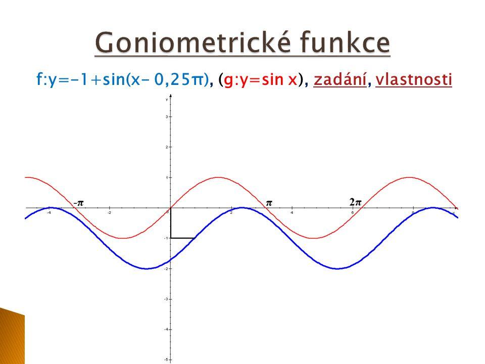 f:y=-1+sin(x- 0,25π), (g:y=sin x), zadání, vlastnostizadánívlastnosti