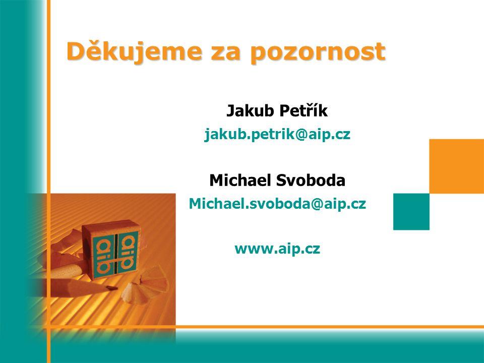 Děkujeme za pozornost Jakub Petřík jakub.petrik@aip.cz Michael Svoboda Michael.svoboda@aip.cz www.aip.cz