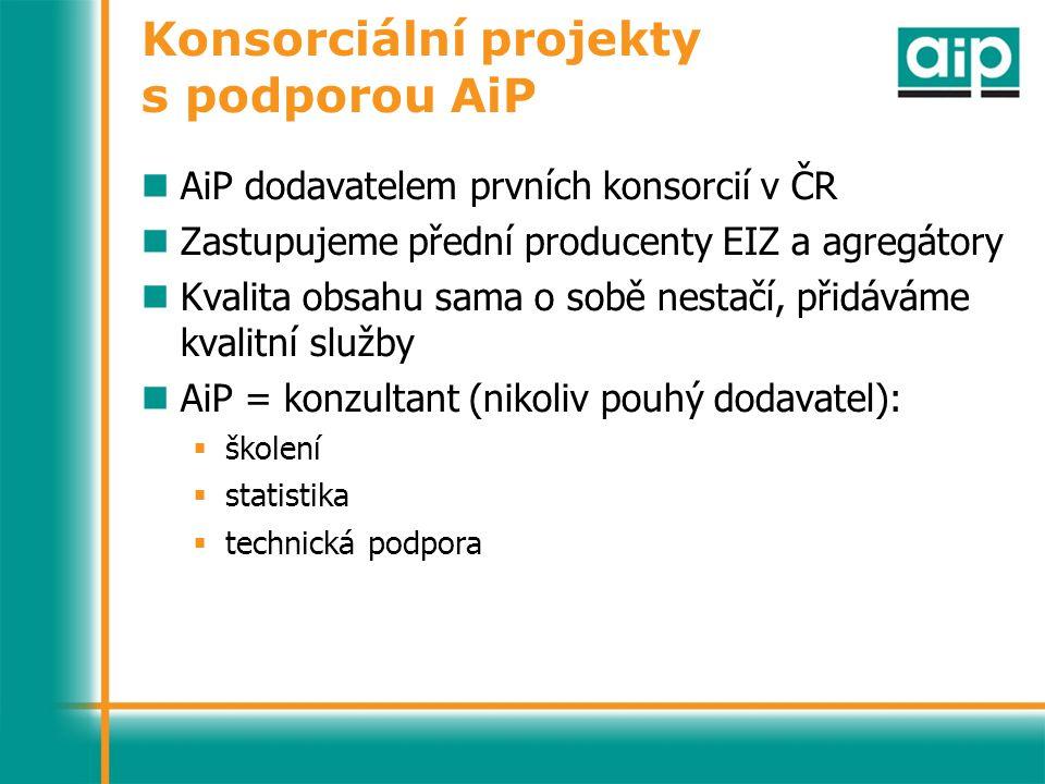 Konsorciální projekty s podporou AiP AiP dodavatelem prvních konsorcií v ČR Zastupujeme přední producenty EIZ a agregátory Kvalita obsahu sama o sobě nestačí, přidáváme kvalitní služby AiP = konzultant (nikoliv pouhý dodavatel):  školení  statistika  technická podpora