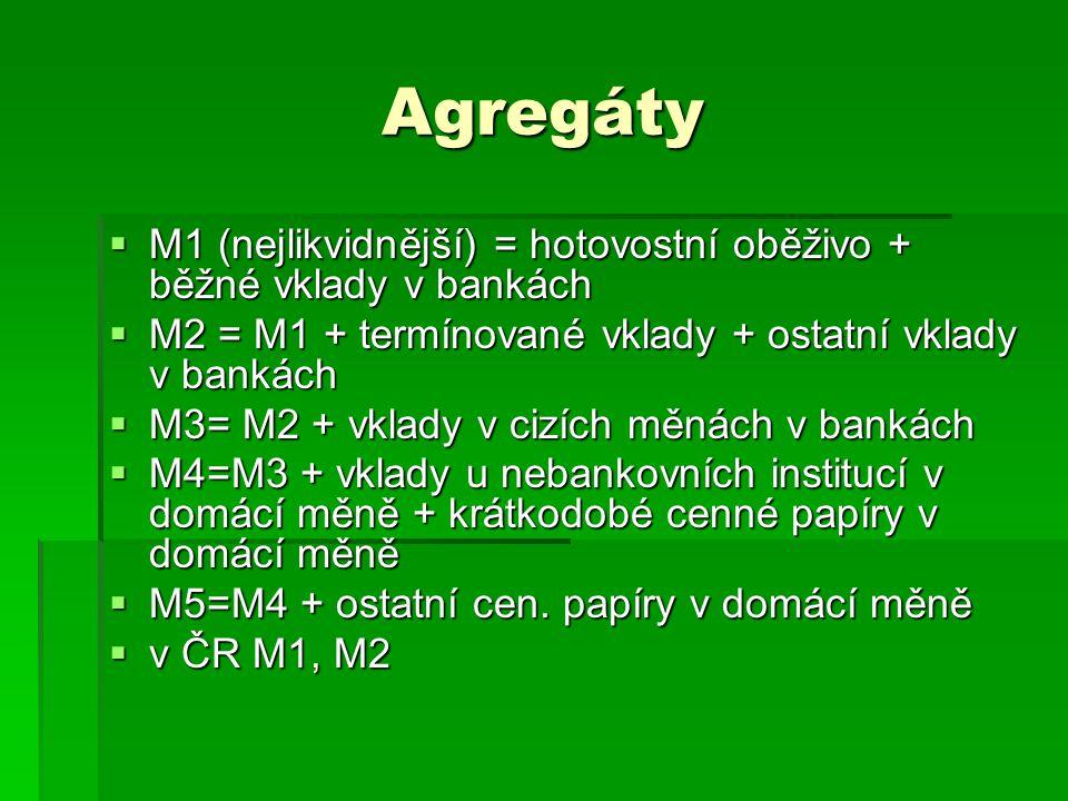 Agregáty  M1 (nejlikvidnější) = hotovostní oběživo + běžné vklady v bankách  M2 = M1 + termínované vklady + ostatní vklady v bankách  M3= M2 + vkla
