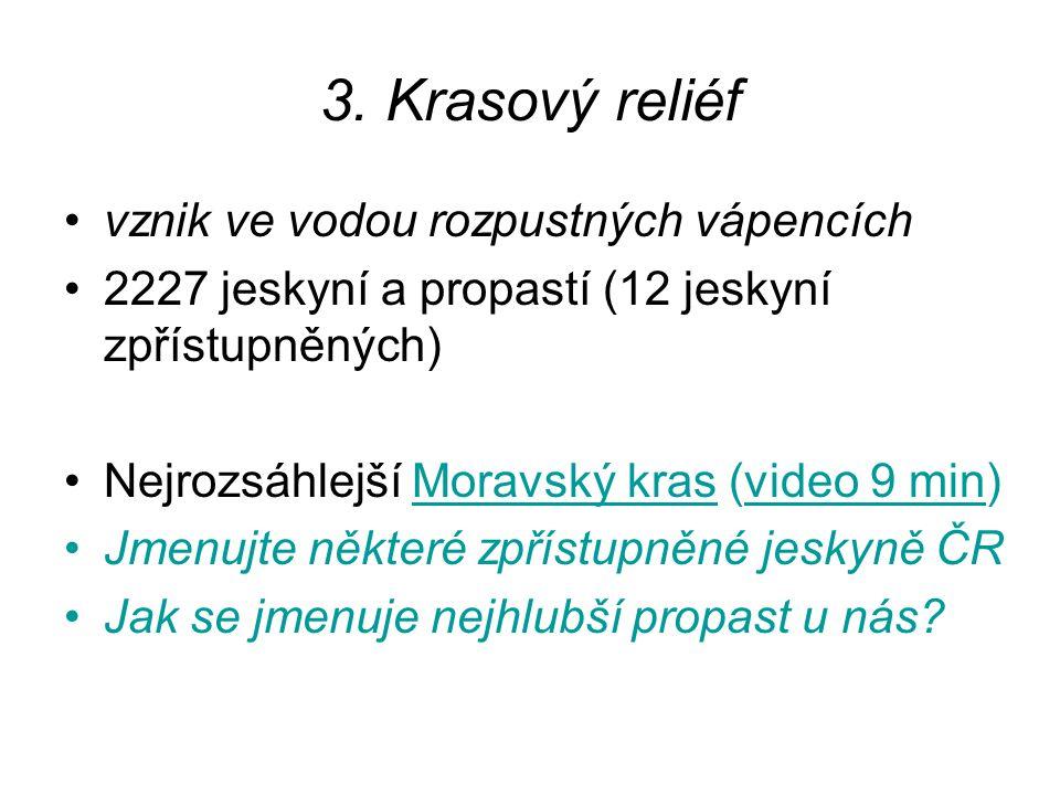 3. Krasový reliéf vznik ve vodou rozpustných vápencích 2227 jeskyní a propastí (12 jeskyní zpřístupněných) Nejrozsáhlejší Moravský kras (video 9 min)M