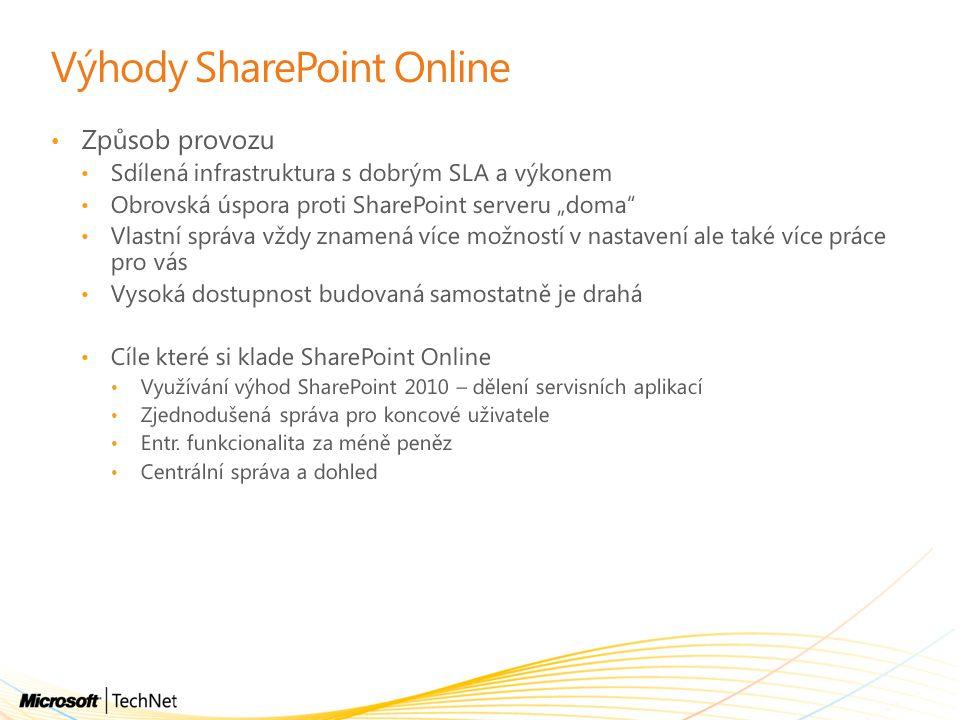 """Výhody SharePoint Online Způsob provozu Sdílená infrastruktura s dobrým SLA a výkonem Obrovská úspora proti SharePoint serveru """"doma"""" Vlastní správa v"""