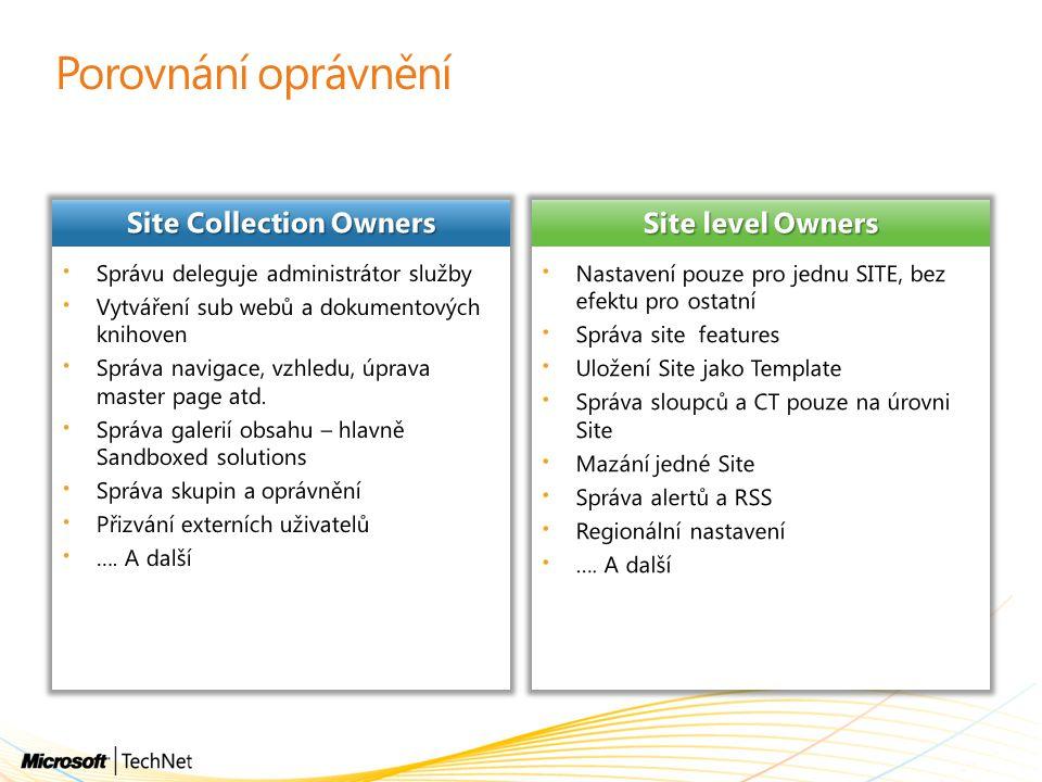 Porovnání oprávnění Site Collection Owners Site level Owners