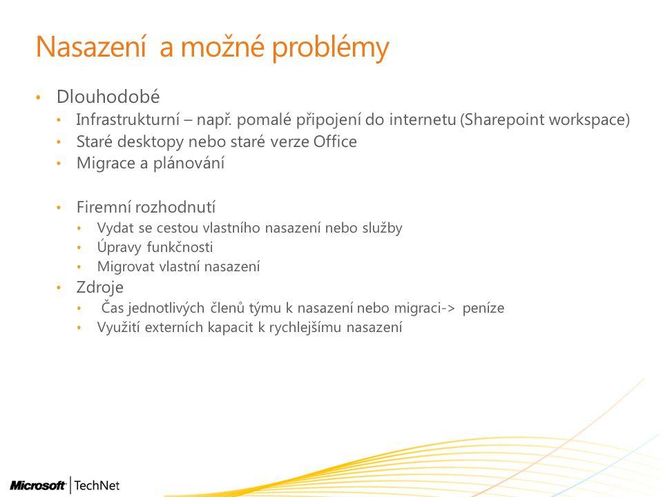 Nasazení a možné problémy Dlouhodobé Infrastrukturní – např. pomalé připojení do internetu (Sharepoint workspace) Staré desktopy nebo staré verze Offi