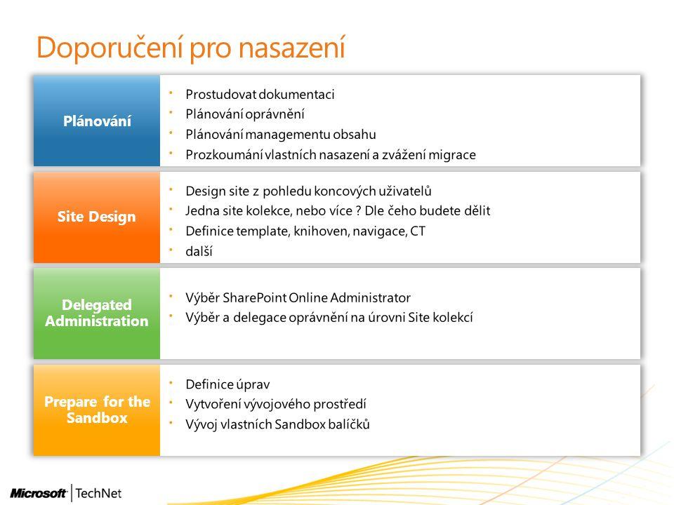 Doporučení pro nasazení Plánování Site Design Delegated Administration Prepare for the Sandbox