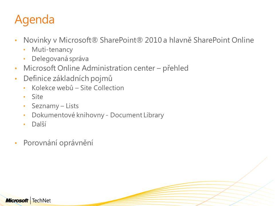 Agenda Novinky v Microsoft® SharePoint® 2010 a hlavně SharePoint Online Muti-tenancy Delegovaná správa Microsoft Online Administration center – přehle