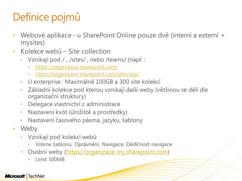 Definice pojmů Webové aplikace - u SharePoint Online pouze dvě (interní a externí + mysites) Kolekce webů – Site collection Vznikají pod /, /sites/, n