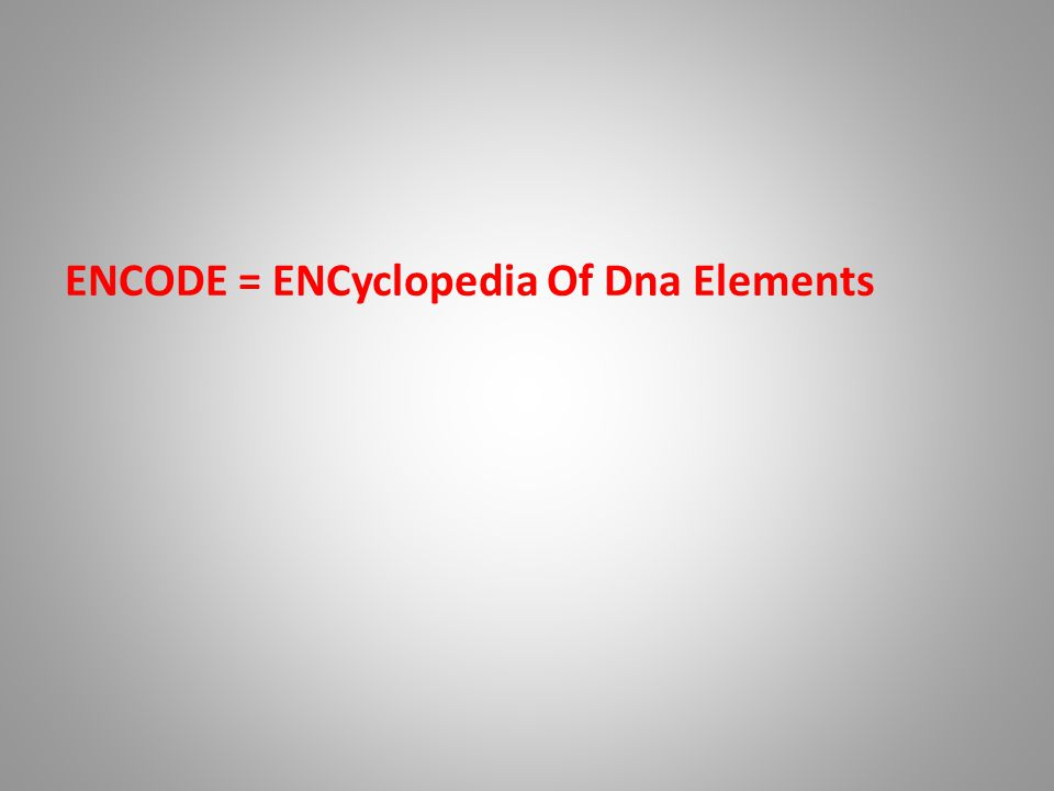 ENCODE = ENCyclopedia Of Dna Elements