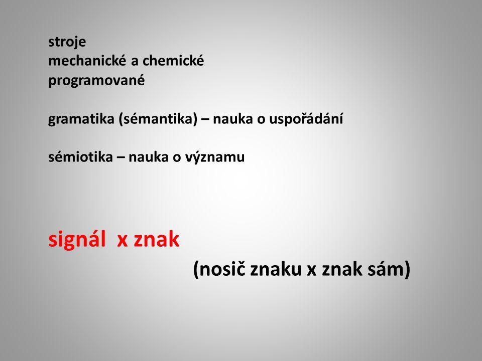 stroje mechanické a chemické programované gramatika (sémantika) – nauka o uspořádání sémiotika – nauka o významu signál x znak (nosič znaku x znak sám)