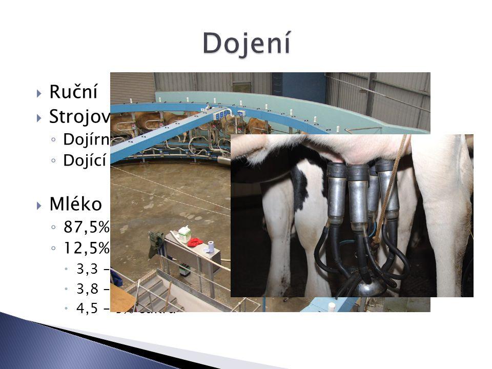  Ruční  Strojové ◦ Dojírny ◦ Dojící automaty  Mléko ◦ 87,5% vody ◦ 12,5% sušiny  3,3 – 4,5% bílkoviny (kasein)  3,8 – 4.5% tuku  4,5 – 5% cukru