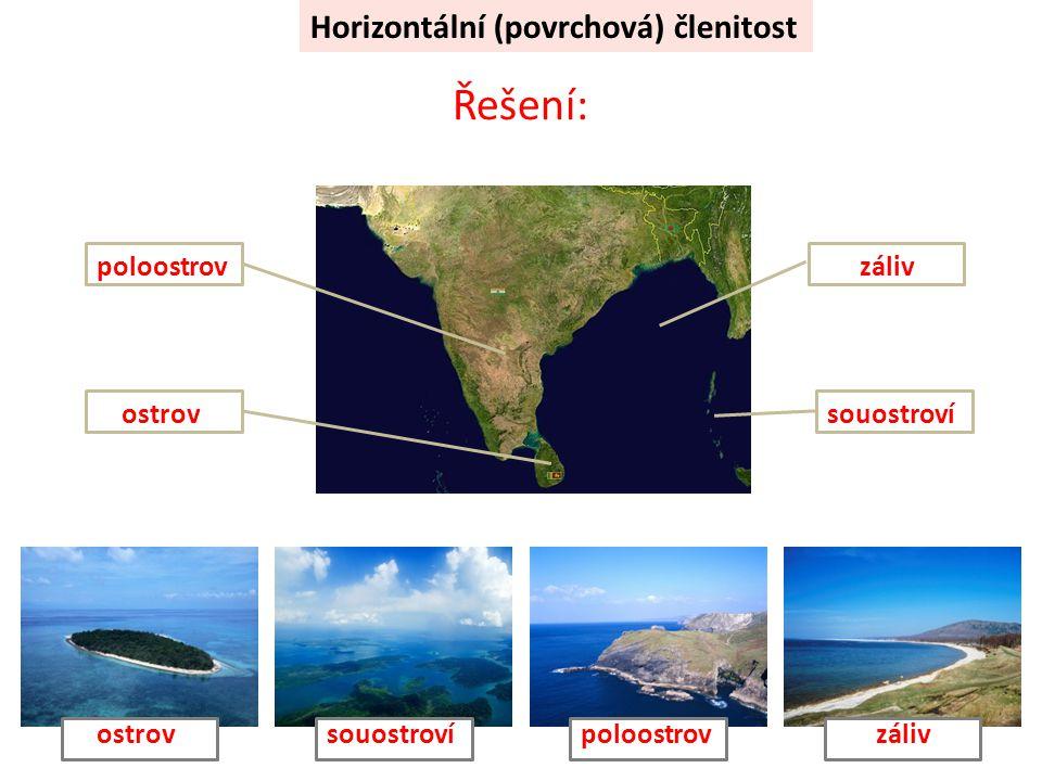 Horizontální (povrchová) členitost Řešení: ostrovsouostroví poloostrovzáliv poloostrovostrovzálivsouostroví
