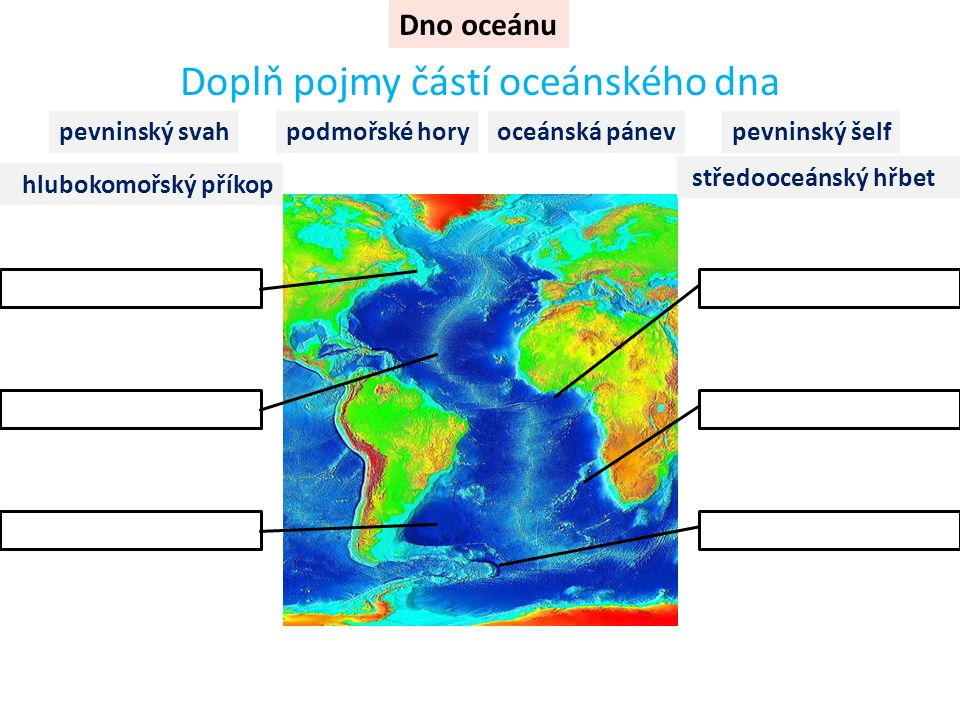 Dno oceánu Doplň pojmy částí oceánského dna středooceánský hřbet oceánská pánevpevninský svahpevninský šelf hlubokomořský příkop podmořské hory