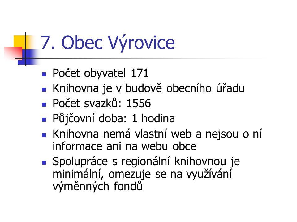 7. Obec Výrovice Počet obyvatel 171 Knihovna je v budově obecního úřadu Počet svazků: 1556 Půjčovní doba: 1 hodina Knihovna nemá vlastní web a nejsou