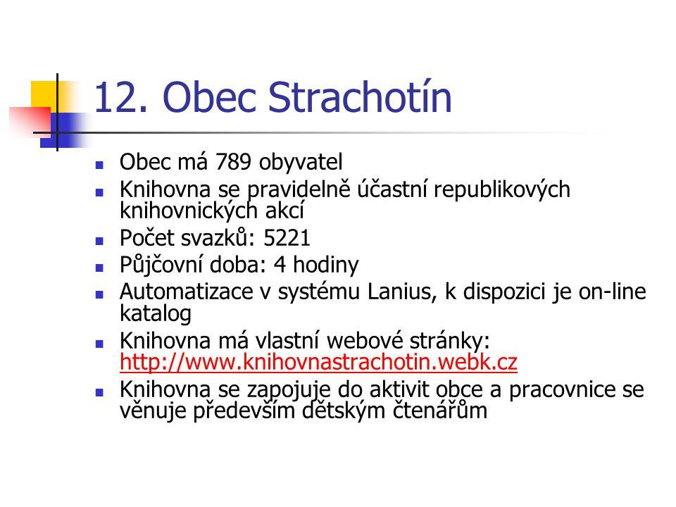 12. Obec Strachotín Obec má 789 obyvatel Knihovna se pravidelně účastní republikových knihovnických akcí Počet svazků: 5221 Půjčovní doba: 4 hodiny Au