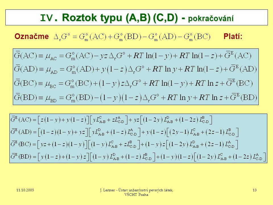 11.10.2005J. Leitner - Ústav inženýrství pevných látek, VŠCHT Praha 13 IV.