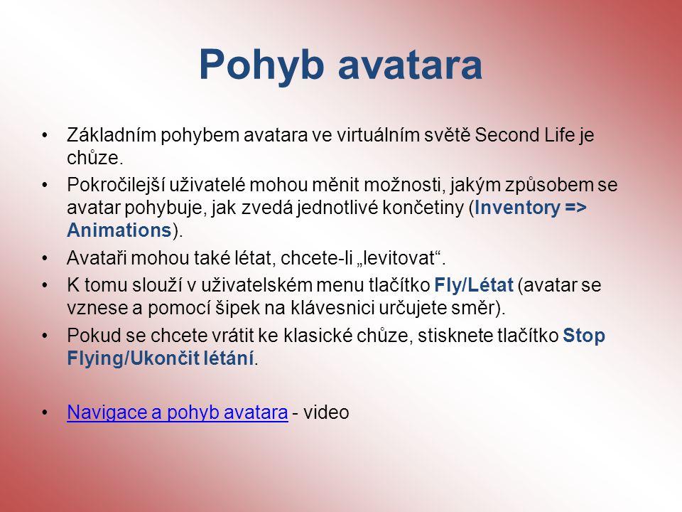 Pohyb avatara Základním pohybem avatara ve virtuálním světě Second Life je chůze.