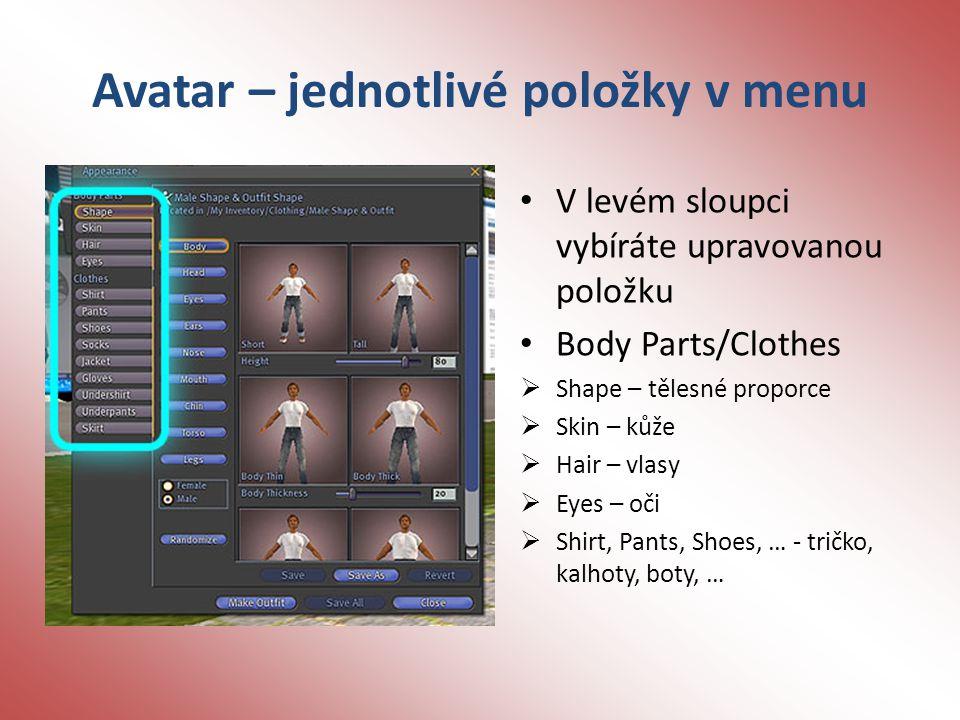 Avatar – jednotlivé položky v menu V levém sloupci vybíráte upravovanou položku Body Parts/Clothes  Shape – tělesné proporce  Skin – kůže  Hair – vlasy  Eyes – oči  Shirt, Pants, Shoes, … - tričko, kalhoty, boty, …