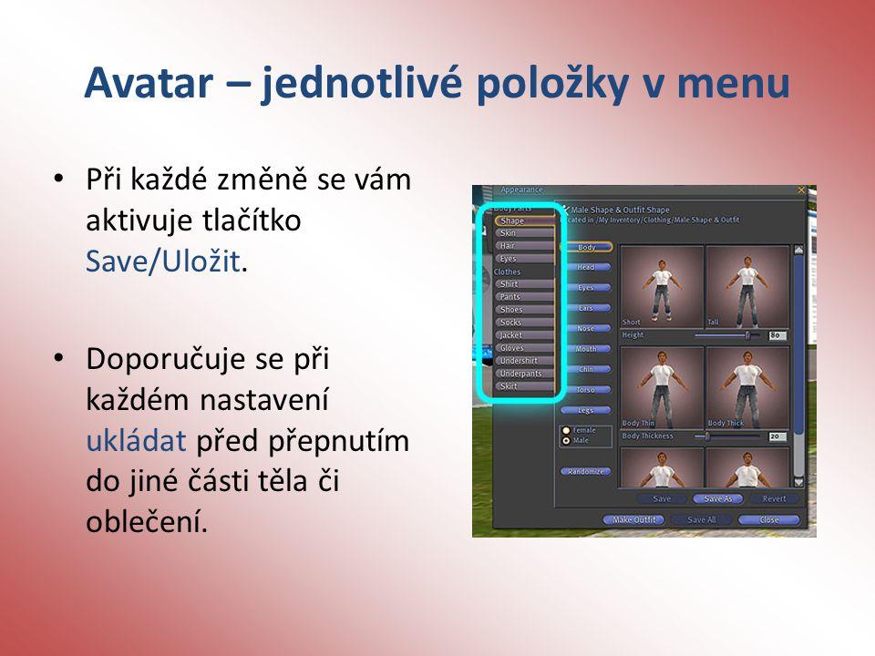 Avatar – jednotlivé položky v menu Při každé změně se vám aktivuje tlačítko Save/Uložit.