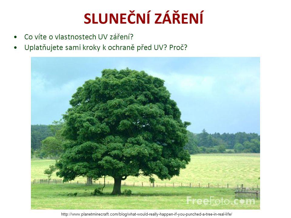SLUNEČNÍ ZÁŘENÍ Co víte o vlastnostech UV záření? Uplatňujete sami kroky k ochraně před UV? Proč? http://www.planetminecraft.com/blog/what-would-reall