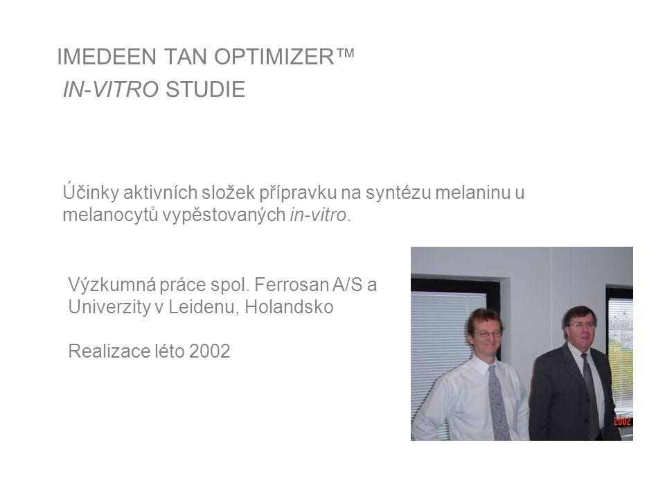 IMEDEEN TAN OPTIMIZER™ IN-VITRO STUDIE Účinky aktivních složek přípravku na syntézu melaninu u melanocytů vypěstovaných in-vitro.