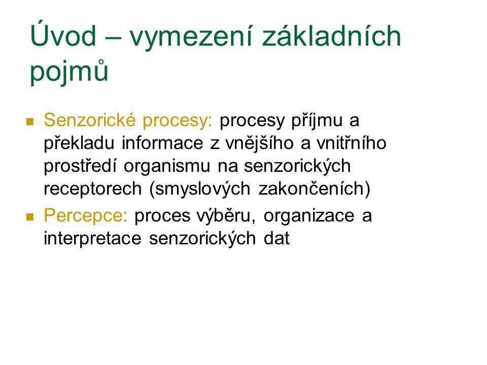 Senzorické procesy - čití 3 typy zpracování informací: 1.
