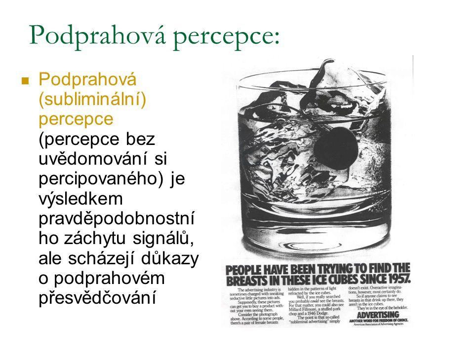 Podprahová percepce: Podprahová (subliminální) percepce (percepce bez uvědomování si percipovaného) je výsledkem pravděpodobnostní ho záchytu signálů,