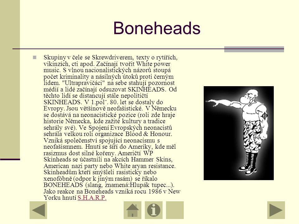 Boneheads Skupiny v čele se Skrewdriverem, texty o rytířích, vikinzích, cti apod.