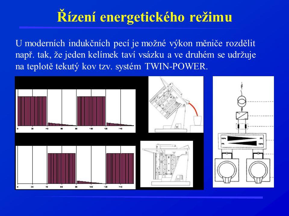 Řízení energetického režimu U moderních indukčních pecí je možné výkon měniče rozdělit např. tak, že jeden kelímek taví vsázku a ve druhém se udržuje