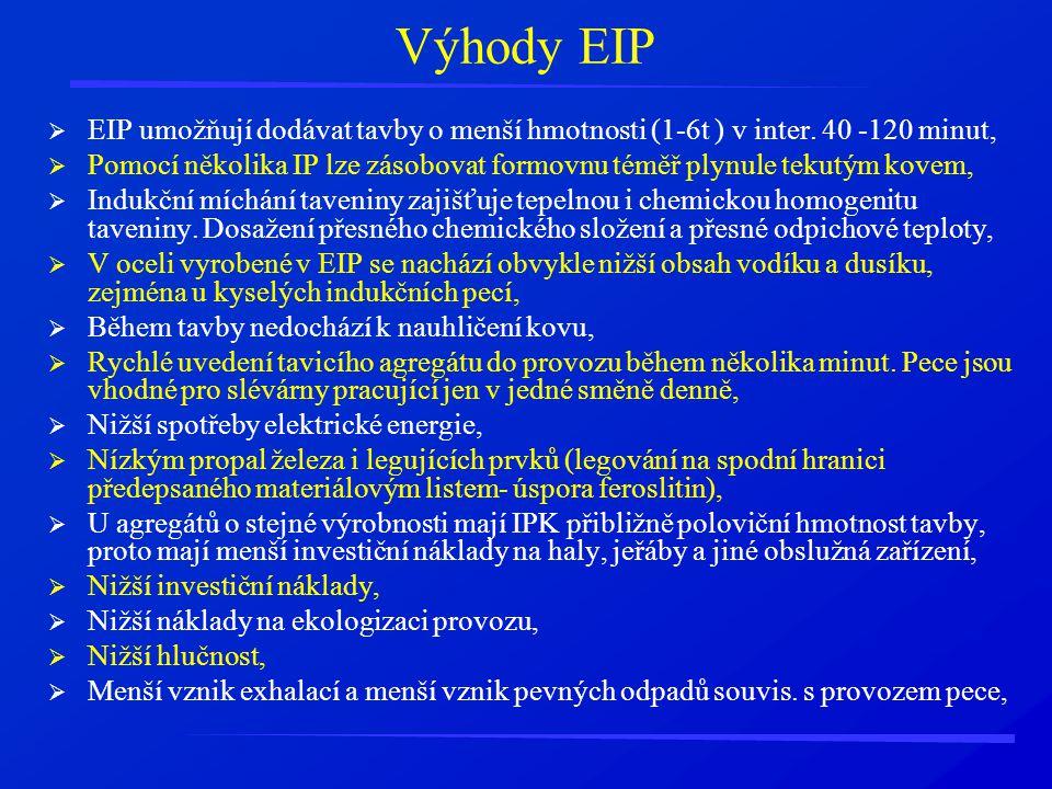 Výhody EIP  EIP umožňují dodávat tavby o menší hmotnosti (1-6t ) v inter. 40 -120 minut,  Pomocí několika IP lze zásobovat formovnu téměř plynule te