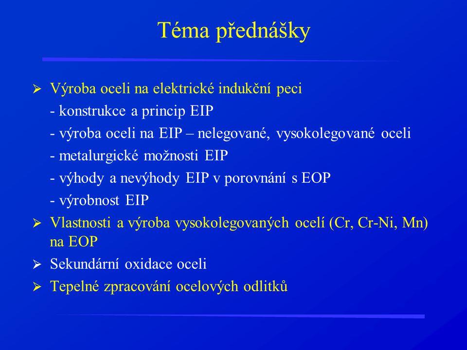 Téma přednášky  Výroba oceli na elektrické indukční peci - konstrukce a princip EIP - výroba oceli na EIP – nelegované, vysokolegované oceli - metalu