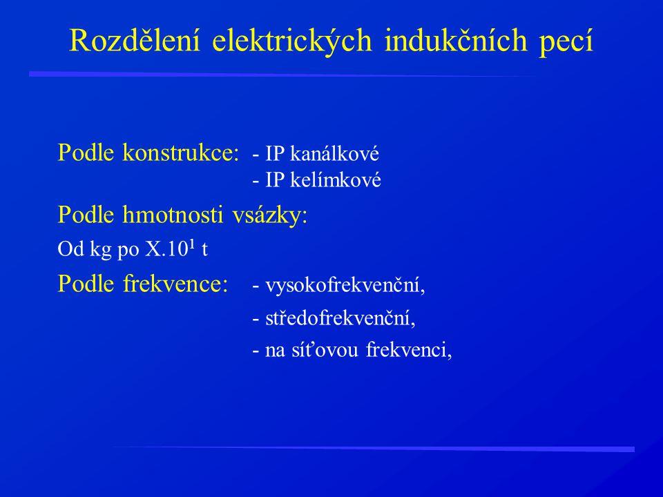 Rozdělení elektrických indukčních pecí Podle konstrukce: - IP kanálkové - IP kelímkové Podle hmotnosti vsázky: Od kg po X.10 1 t Podle frekvence: - vy