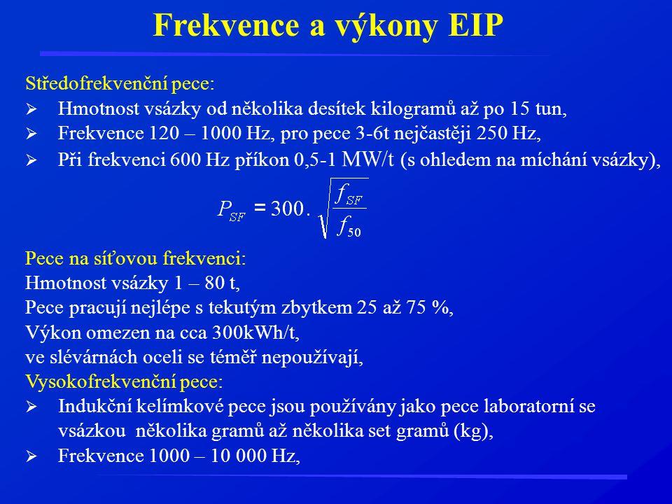 Frekvence a výkony EIP Středofrekvenční pece:  Hmotnost vsázky od několika desítek kilogramů až po 15 tun,  Frekvence 120 – 1000 Hz, pro pece 3-6t n