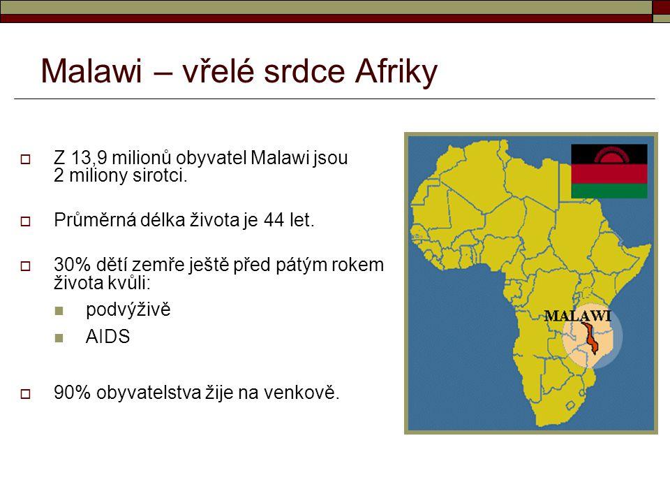  Z 13,9 milionů obyvatel Malawi jsou 2 miliony sirotci.  Průměrná délka života je 44 let.  30% dětí zemře ještě před pátým rokem života kvůli: podv